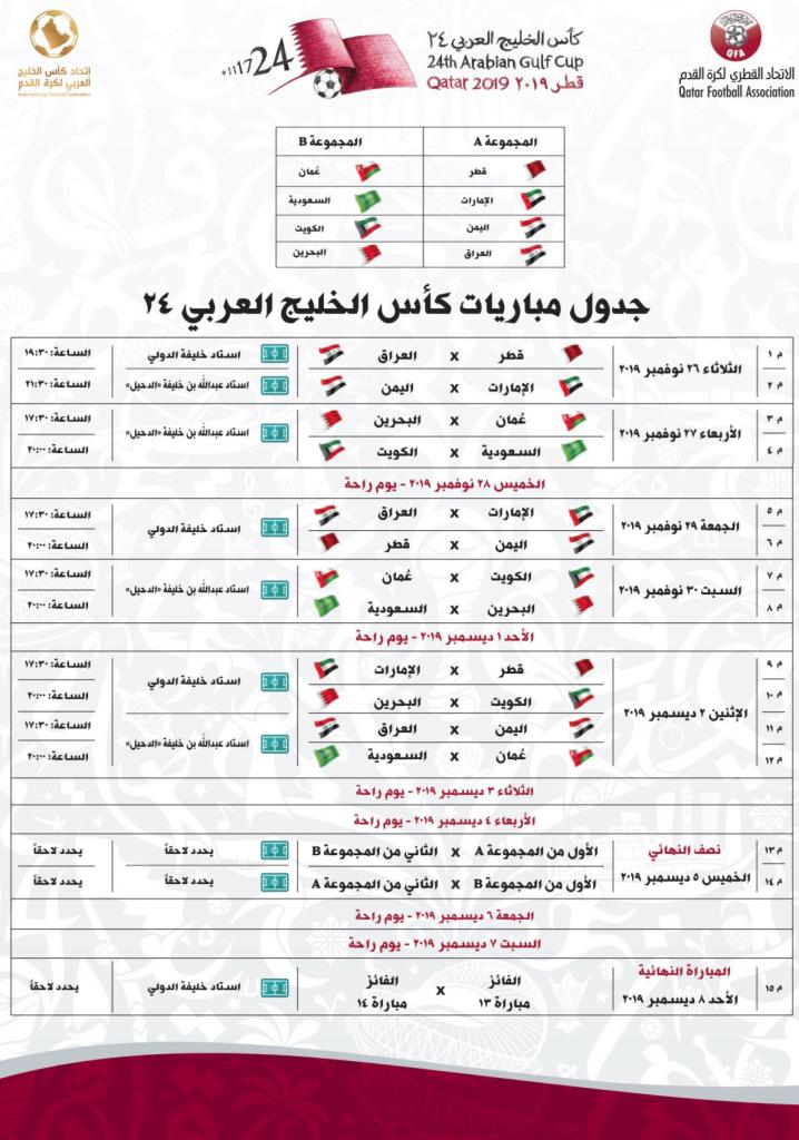جدول مباريات كأس الخليج العربي 24